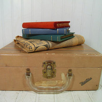 Vintage Vacationer Wooden & Tan Paper SuitCase - Shabby Chic Child Size Traveling Bag - BoHo CarryOn Train Luggage - Artisan Tool Supply Box