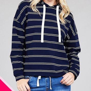LL Stripe French Terry Hoodie w/ Drawstring