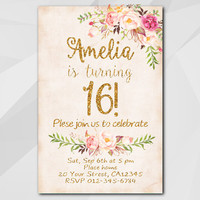 16th Birthday Invitation, Peach Gold Invitation, Any age 13th 18th 21st 30th 40th 50th, Custom Birthday Party invitation XA302p