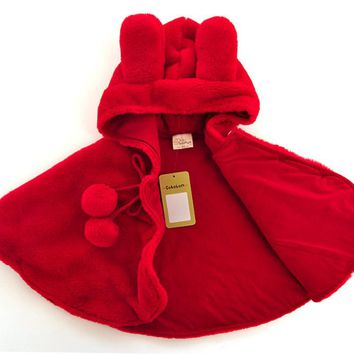 Little Red Riding Hood Thick Winter Cloak Hooded Coat newborn Baby jacket