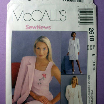 "Semi-Fitted Dress, Lined Jacket McCall's 2618 Misses' Size 14, 16, 18 Bust 36, 38, 40"" Sewing Pattern Uncut"
