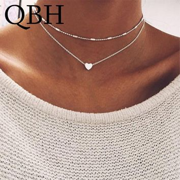 NK277 New Arrival Brand Minimalist Double Horn Pendant Gold Dot Luna Choker Necklace Women Jewelry Boho Heart Necklace Collares