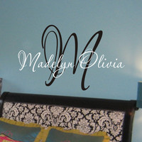 Teen Girl Wall Decal, Baby Girl Name Nursery Wall Decal - Monogram Name Vinyl Lettering Childrens Wall Decal