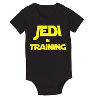 JEDI in Training - funny cool retro force is strong movie star wars trooper jumper creeper new Infant - Baby Black ONE-PIECE DT0529