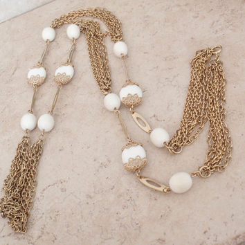 Long Layered Necklace Milk Glass Beads Gold Tone Multi Chain 44 Inch Vintage