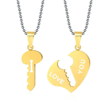Heart Key Pendant Necklaces For Lover