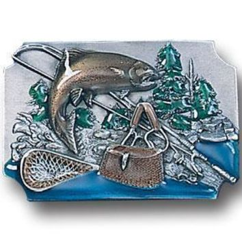 Sports Accessories - Fish with Gear Background Enameled Belt Buckle