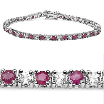 5.80 Carat Genuine Ruby & White Topaz .925 Sterling Silver Bracelet