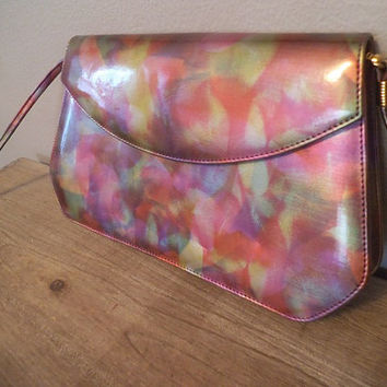Vintage J Rene Colorful Shoulder bag Clutch purse ~ GORGEOUS