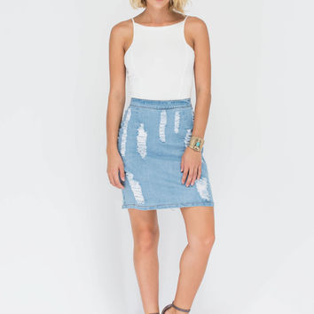 Closet Raid Distressed Denim Skirt GoJane.com
