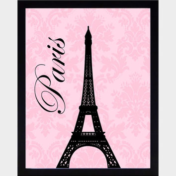 Paris Themed Eifeltower Wall Art Prints Black on Vintage Pink Art Print CUSTOMIZE YOUR COLORS 8x10 Prints Nursery Decor Baby Room Decor Kids