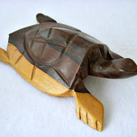 Vintage Hand Carved Ironwood Turtle, Large Sea Turtle, Tortoise Ironwood Sculpture, Mexico