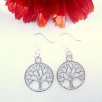 Silver Tree Of Life Earring - Circle Tree Earrings - Yggdrasil Jewellery - Nature Inspired Jewelry