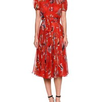 Dolce & Gabbana Short-Sleeve Belted Fish-Print Pleated Chiffon Cocktail Dress