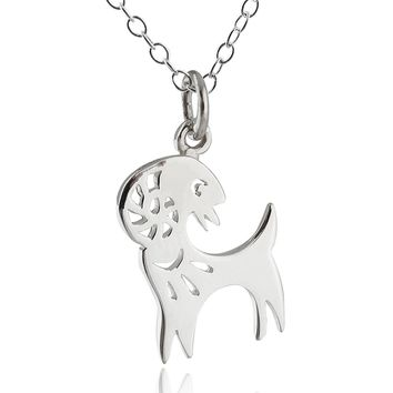 Sterling Silver Year of the Goat Charm Pendant Necklace, 18 Inch Chain