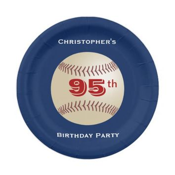 Baseball Paper Plates, 95th Birthday Party Paper Plate