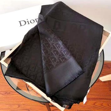 Dior new tide brand female classic logo embossed long shawl scarf