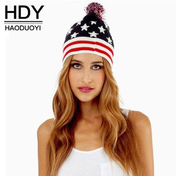 DCCKWQA HDY Haoduoyi 2016 Autumn Women Fashion Wool Ball No brim  Red Blue National Flag Knitted Hat Classic Sweet Lovely Top Cap