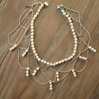 Victorian Style Spider Web Pearl Necklace