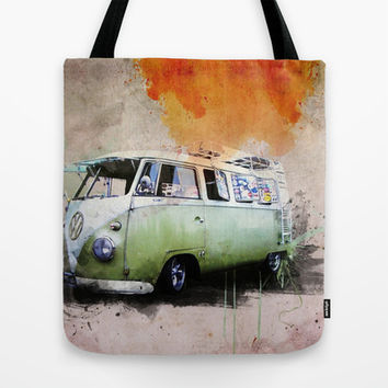 vintage volkswagen Tote Bag by hardkitty