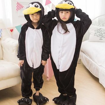 Animal cute Penguin Pajamas Children Onesuits baby Cosplay Costume Unisex robe kids clothes Boys Girls Flannel Sleepwear Pyjama