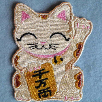 Maneki Neko Iron on Patch