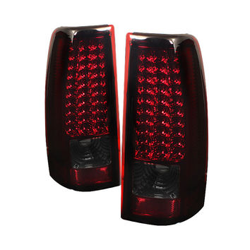 Chevy Silverado 1500/2500/3500 03-06 (Do not fit 03 3500  Stepside  Barn Door) / GMC Sierra 1500/2500/3500 Fleetside 04-06 LED Tail Lights - Red Smoke