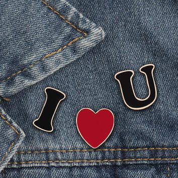 3pcs/set I LOVE U Letters Enamel Pins Lover Brooches Heart Women Men Denim Jackets Lapel Pin Badges Fashion Jewelry Couple Gifts