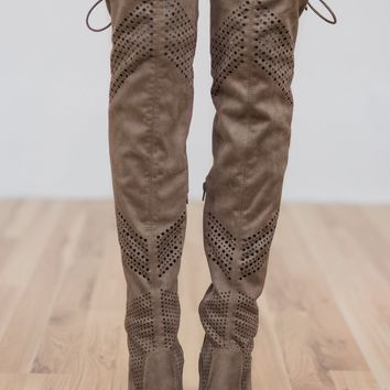 Not Rated Loly Knee-High Boots- Taupe