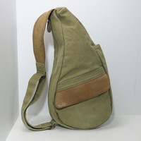 Vintage LL Bean canvas and leather / leather-trimmed sling bag day pack canvas back pack rucksack cross body purse