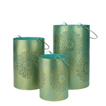 """Set of 3 Turquoise Blue and Gold Decorative Floral Cut-Out Pillar Candle Lanterns 10"""""""