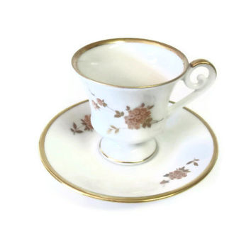 Vintage Kaiser AK Mini Footed Cup & Saucer, Floral Design Porcelain