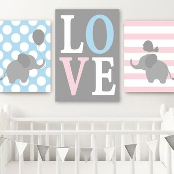 TWIN ELEPHANT Nursery Wall Art, Canvas or Prints, Baby Girl Boy Elephant Decor, Twin Bedroom Decor, Pink Blue Elephant Wall Decor Set of 3