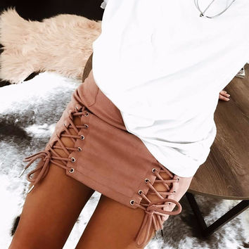 Lima Criss-Cross Faux Suede Skirt