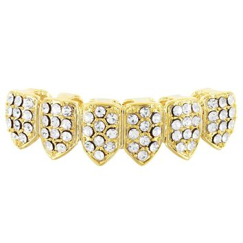 Crown Style Lab diamonds Bottom Teeth Men's Grillz