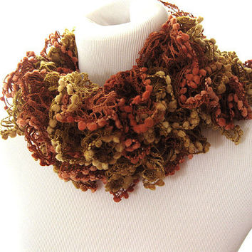 Earth tone, browns, knit ruffle scarf