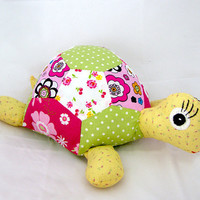 Turtle - Patchwork Turtle Hand Sewn -  Stuffed Animal - Soft Toy