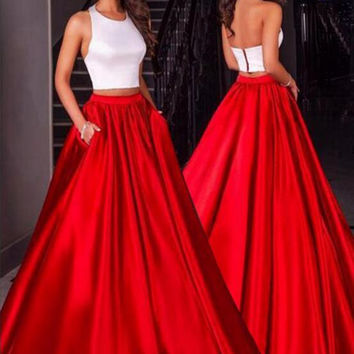 Backless Halter Two Pieces Prom Dresses,Prom Dress