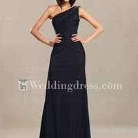 One-Shoulder Chiffon Mother of the Bride Dress MO057