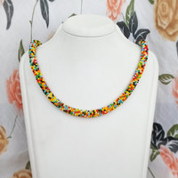 Multicolor necklace - Bead crochet necklace Seed bead necklace Organza ribbon necklace Seed bead jewelry Beaded necklace Metal free necklace