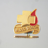 Red Enamel Blood Donor Lapel Pin Unisex Gold Tone Jewelry Accessories