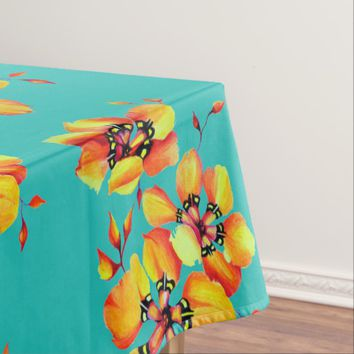 Elegant Orange Flowers - Aqua Tablecloth