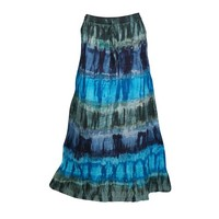 Mogul Tie Dye A-Line Long Skirt Flirty Boho Summer Fashion Cotton Tiered Lace Work Hippie Chic Skirts For Womens - Walmart.com