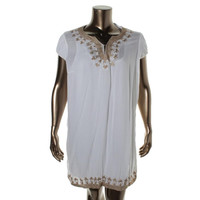 NY Collection Womens Metallic Cap Sleeves Casual Dress