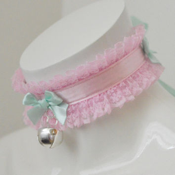 Kitten play collar - Mint bow - ddlg little princess cute kawaii pastel choker - baby pink and green collar with bell