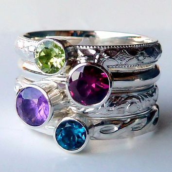 4 Stacking Rings - Stackable Rings - Gemstone Rings - Mothers Rings - Birthstone Rings -  Birthstone Stacking Rings - Sterling Silver