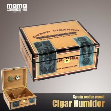 25CT Cigar box Top quality cedar wood handmade cohiba humidor case Artpaper with piano finish