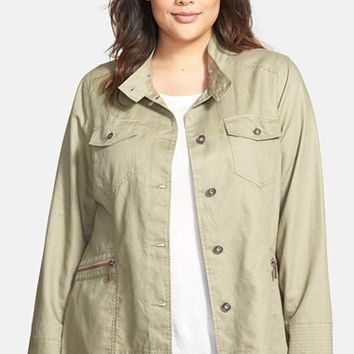 Plus Size Women's Bernardo Button Front Cotton Blend Jacket