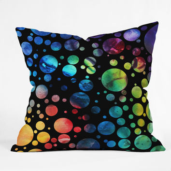 Madart Inc. Polka Dots Black Throw Pillow