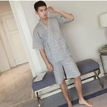 2017 summer Male female bath robe women Men couple Japanese Kimono Pajamas Suit Cotton Double Sleepwear Nightgown Top Pants Set